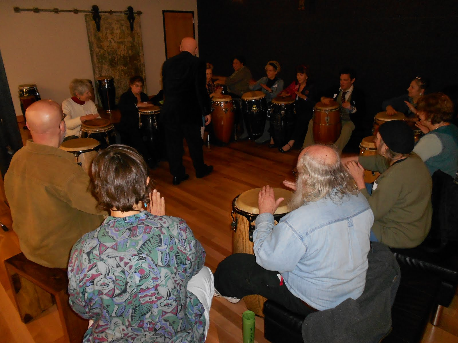 Bobby Torres and drumming class